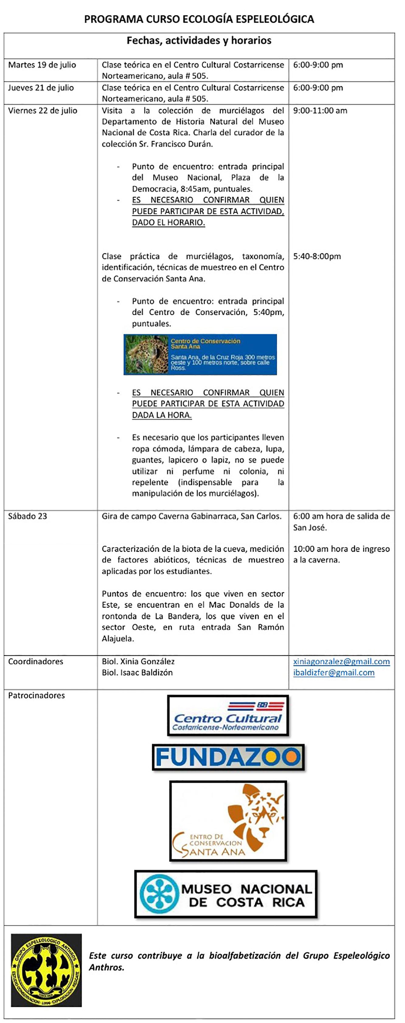 Curso Ecologica Espeleología